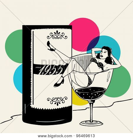 Young retro girl in hot dress on a big glass on vintage rays background.
