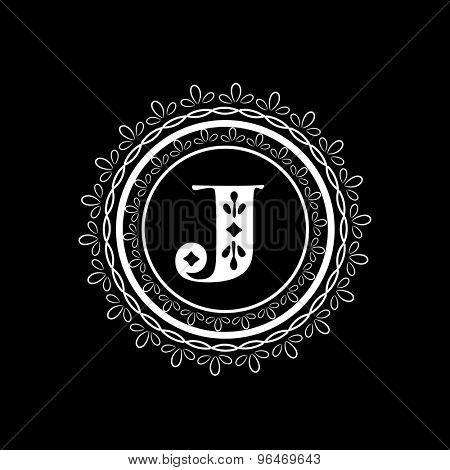Shiny English alphabet J in floral design decorated rounded frame on black background, Elegant design for premium monogram.
