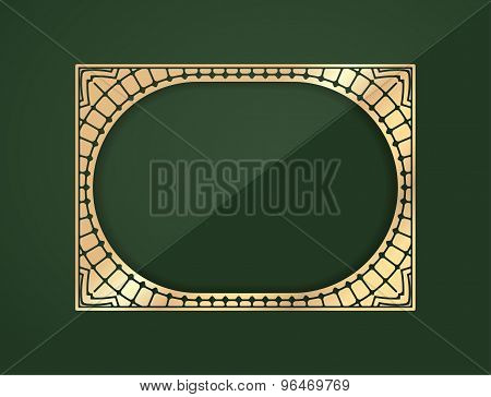 Gold Rectangular Lace Design Element - Frame With Shadow On A Rich Dark Green Background With A Midd