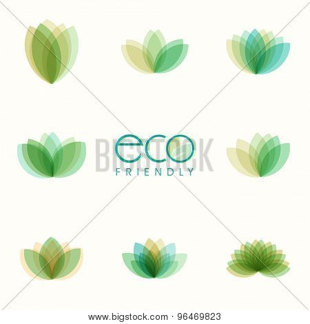 Set of beautiful green leaves on shiny background for Eco Friendly concept.