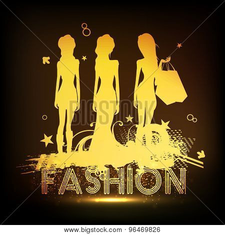 Golden glossy illustration of young fashionable hot girls with shopping bags on shiny brown background.