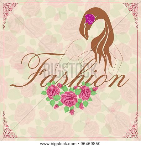 Beautiful stylish flyer, banner or template with pink roses and young fashionable girl for Fashion.
