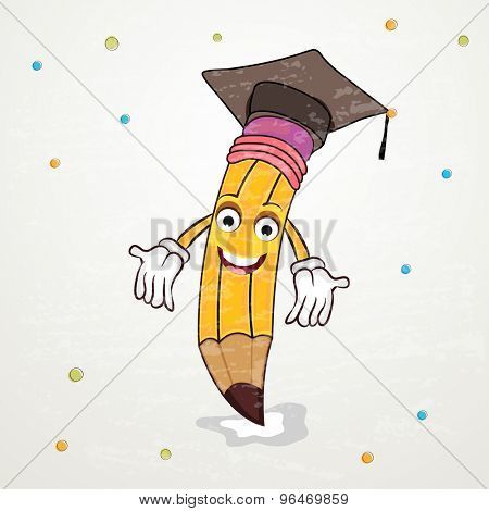 Illustration of a pencil in graduation hat on grey background for Back to School concept.