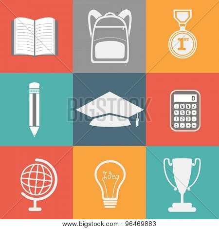 Set of educational elements, objects and items on colorful background for Back to School concept.