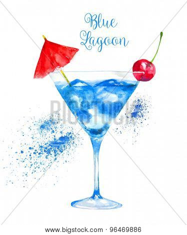 Watercolor Blue Lagoon Cocktail Isolated on White Background. Vector Illustration.