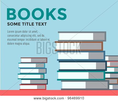 Books stack vector. Icon isolated. School objects, or university and college symbols. Stock design elements.