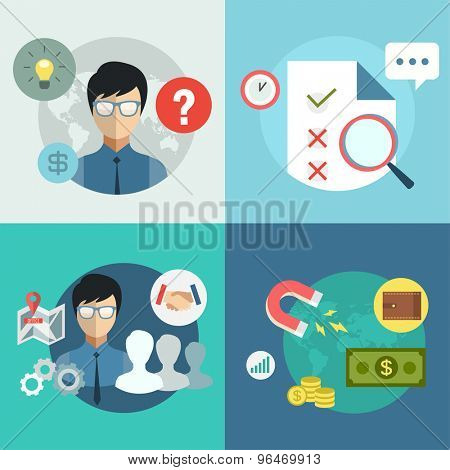 Startup business creation infographic. Command, money, idea and work with new team. Vector stock illustration for design