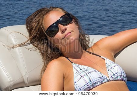Woman on vacation on a boat portrait