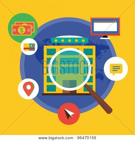 New Job Search. infographic. Labor, Office, Loupe and Professions. Vector stocks illustration for design