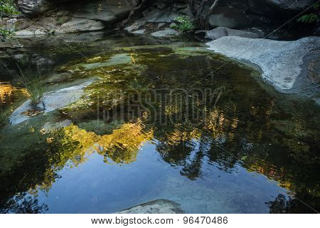 Landscape With The River And Reflection In Water On The Island Of Andros, Greece