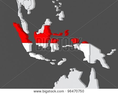 Map of worlds. Indonesia. 3d