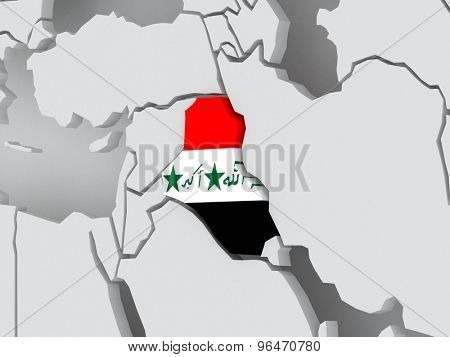 Map of worlds. Iraq. 3d
