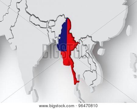 Map of worlds. Myanmar (Burma). 3d