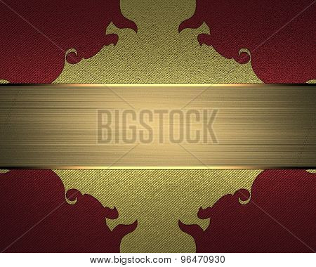 Red Background With Gold Pattern And Nameplate For Text. Element For Design. Template For Design.