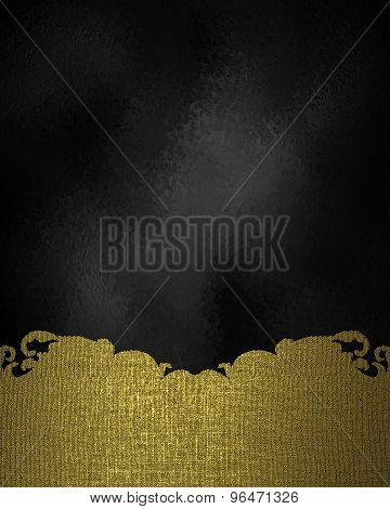 Black Abstract Background With Gold Pattern. Element For Design. Template For Design.