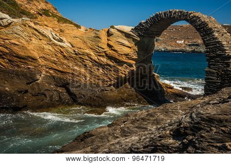 Ancient Bridge To Small Island Near The Town Of Andros, Andros, Greece