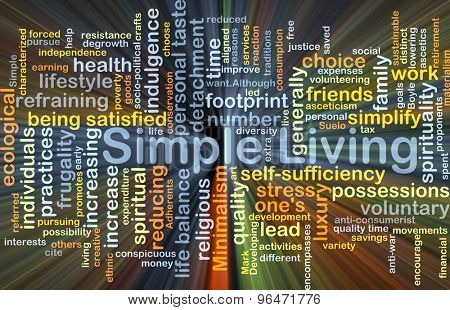 Background concept word cloud illustration of simple living glowing light