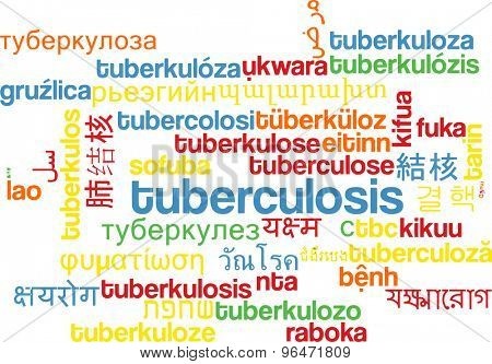 Background concept word cloud multi language international many language illustration of tuberculosis