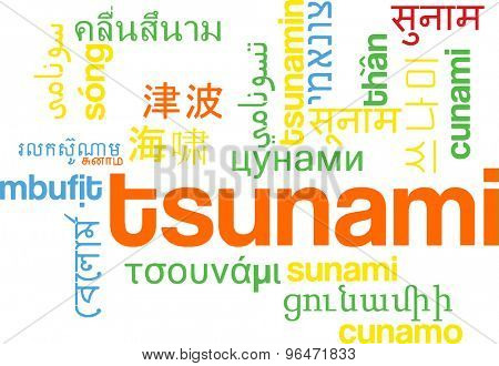 Background concept word cloud multi language international many language illustration of tsunami wave