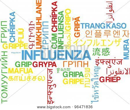 Background concept word cloud multi language international many language illustration of influenza
