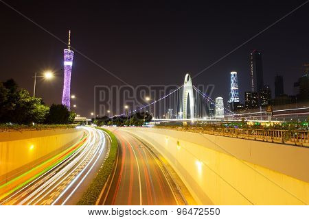 light trails on urban road
