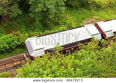 high angle view of train outdoors