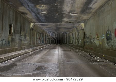 Grafitti In Abandoned Tunnel