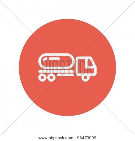 Fuel truck thin line icon for web and mobile minimalistic flat design. Vector white icon inside the red circle.