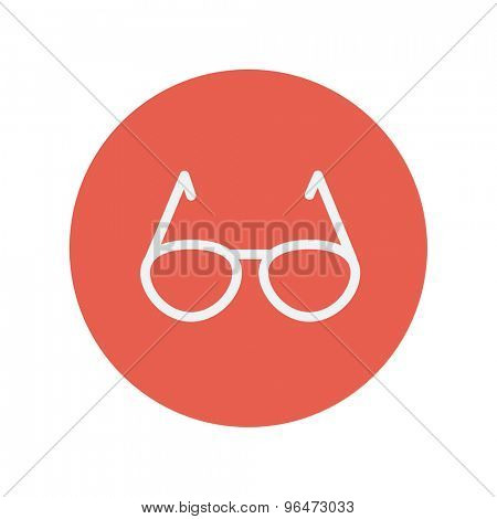 Sunglasses thin line icon for web and mobile minimalistic flat design. Vector white icon inside the red circle
