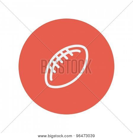 Football ball thin line icon for web and mobile minimalistic flat design. Vector white icon inside the red circle.