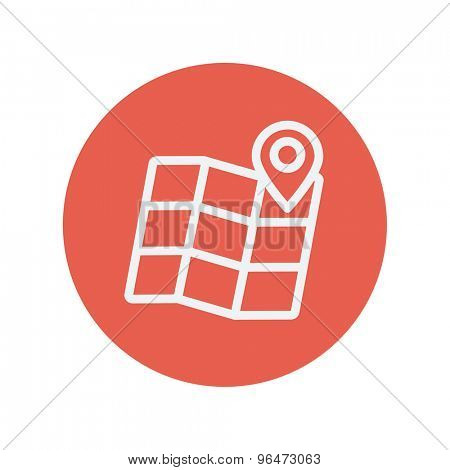 Folded map with pin thin line icon for web and mobile minimalistic flat design. Vector white icon inside the red circle