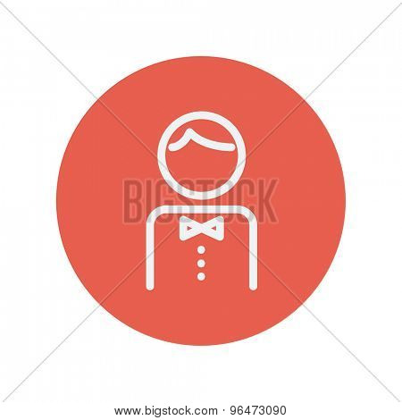 Waiter thin line icon for web and mobile minimalistic flat design. Vector white icon inside the red circle