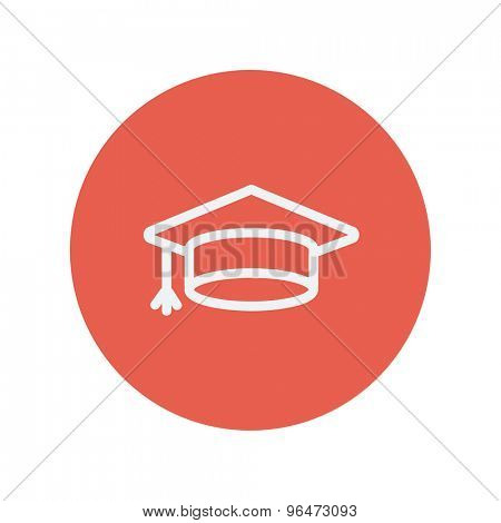 Graduation cap thin line icon for web and mobile minimalistic flat design. Vector white icon inside the red circle.