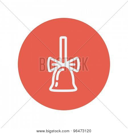 School bell with ribbon thin line icon for web and mobile minimalistic flat design. Vector white icon inside the red circle.