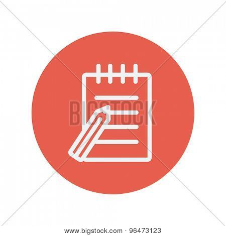 Writing pad with pen thin line icon for web and mobile minimalistic flat design. Vector white icon inside the red circle.