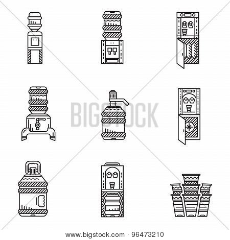 Water cooler black line vector icons set