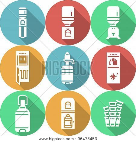 Water cooler flat round vector icons