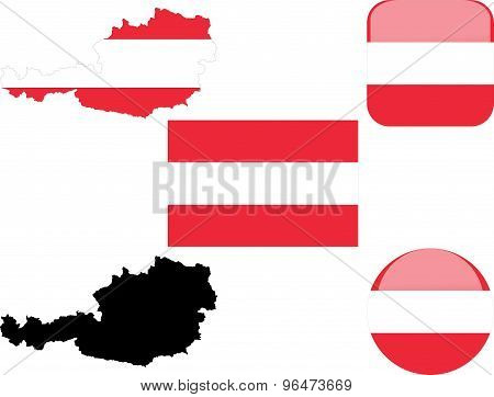 flag, buttons and map of austria