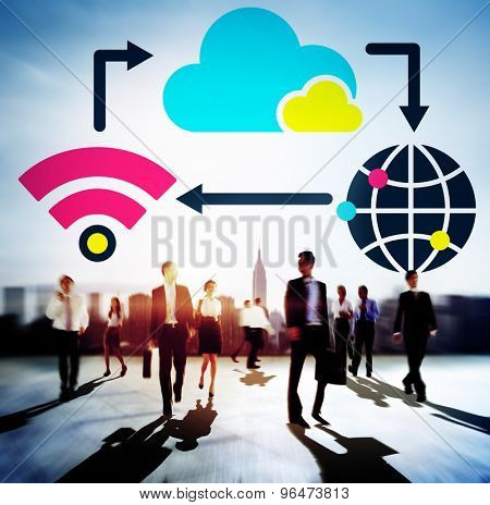 People Business Teamwork Cloud Computing Technology Connection Concept