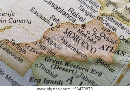 Macro globe map detail Morocco
