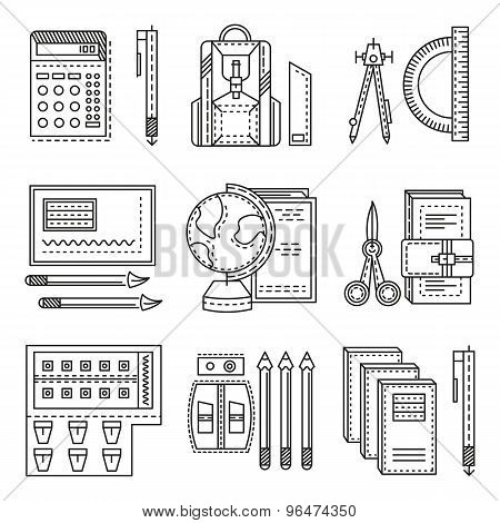 School items flat line vector icons