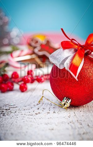 Christmas Decoration on white wooden background