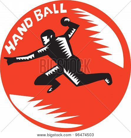 Handball Player Jump Striking Circle Woodcut