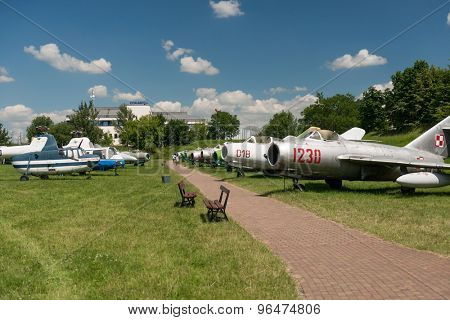 KRAKOW MUSEUM OF AVIATION, POLAND - JUL,  2015:  Exhibition plane in the aviation Museum in Krakow, Poland on July, 2, 2015. In summer often airshows take place here.
