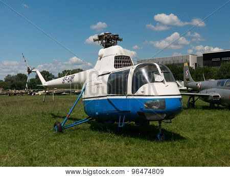 KRAKOW MUSEUM OF AVIATION, POLAND - JUL,  2015:  Exhibition helicopters  in the aviation Museum in Krakow, Poland on July, 2, 2015. In summer often airshows take place here.