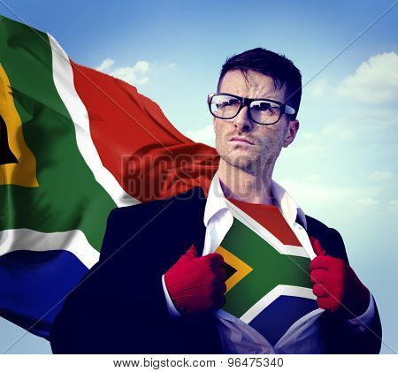 Businessman Superhero Country South Africa Flag Culture Concept