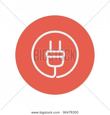Electrical plug thin line icon for web and mobile minimalistic flat design. Vector white icon inside the red circle.