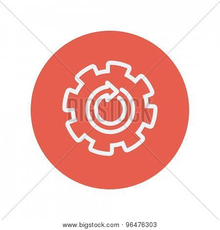 Gear wheel with arrow thin line icon for web and mobile minimalistic flat design. Vector white icon inside the red circle.