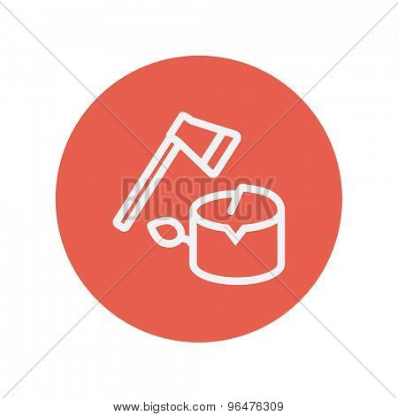 Ax and wood thin line icon for web and mobile minimalistic flat design. Vector white icon inside the red circle.
