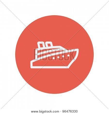 Cruise ship thin line icon for web and mobile minimalistic flat design. Vector white icon inside the red circle